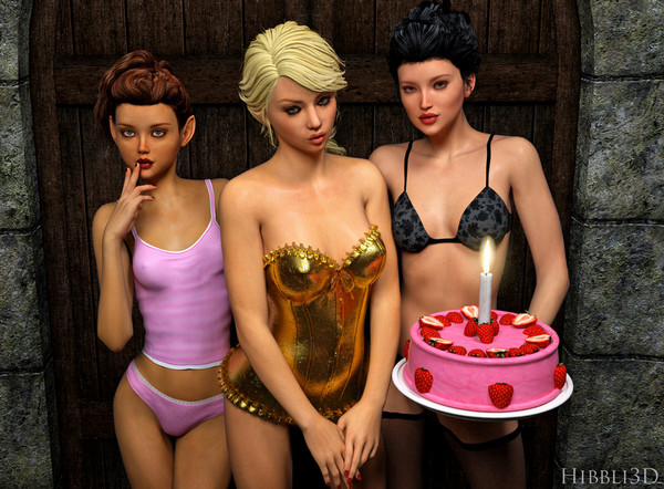 Art by Hibbli3D - Birthday Party with hot Girls